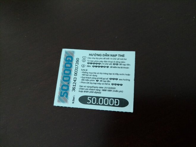 Example of a scratch card with monetary value